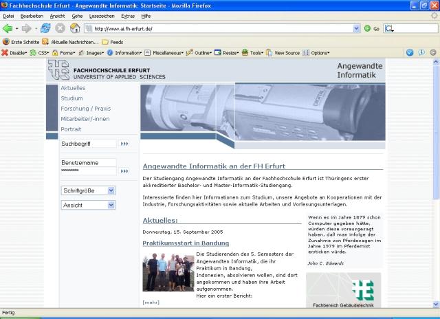 Angewandte Informatik FH Erfurt